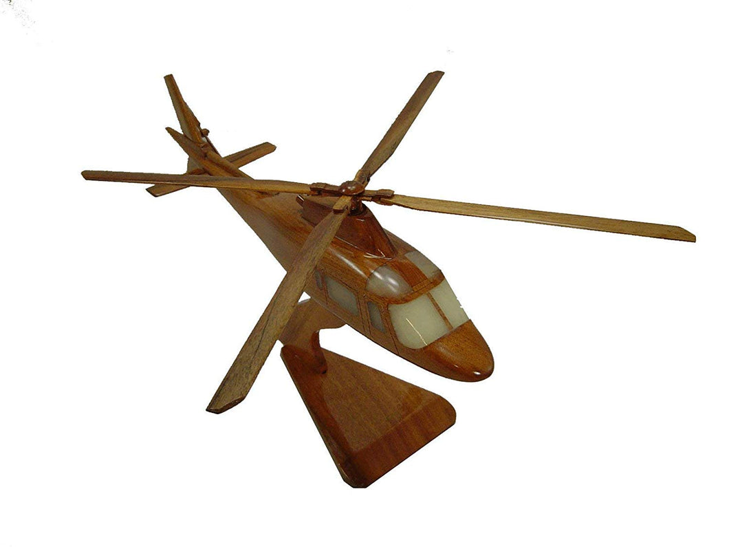 AW109 Mahogany Wood Desktop Helicopter Model
