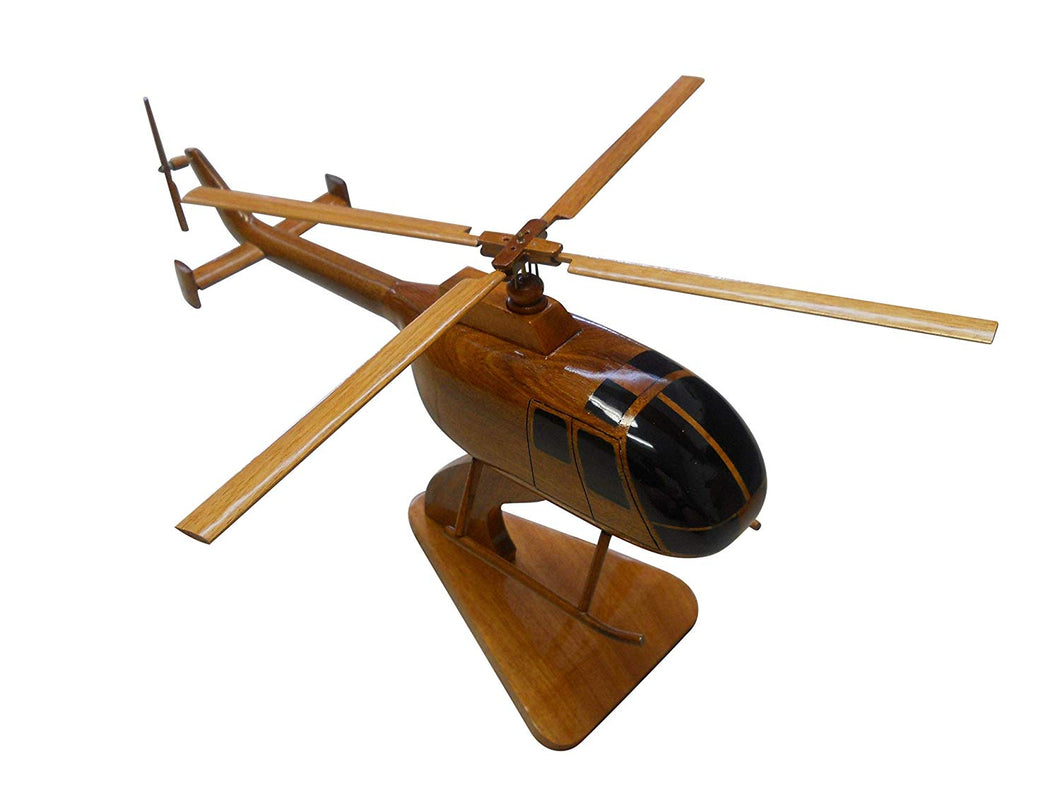BO105 Mahogany Wood Desktop Airplane Model