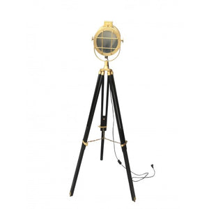 Copy of Hollywood Chrome Designer Floor Searchlight Spot light with Brown Tripod Stand