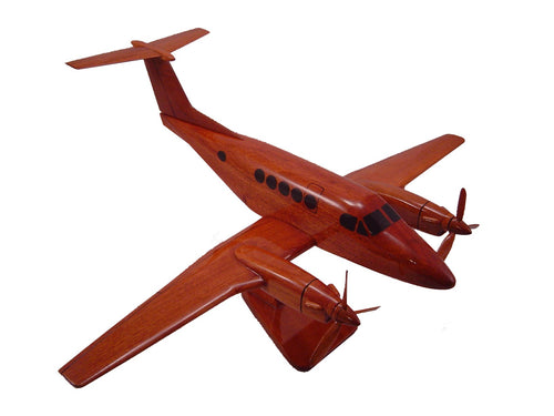 C12 King Air 200 Mahogany Wood Desktop Airplane Model