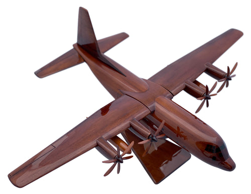 C130 Hercules Mahogany Wood Desktop Airplane Model