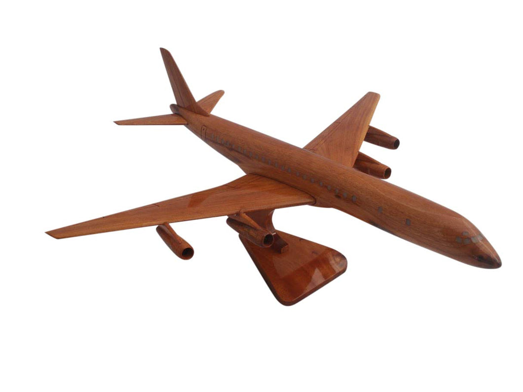 Douglas DC8 Mahogany Wood Desktop Airplane Model