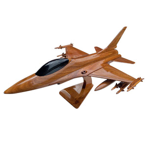 F16 Falcon Mahogany Wood Desktop Airplane Model