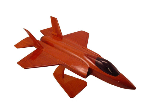 F35 Joint Strike Fighter Mahogany Wood Desktop Airplane Model