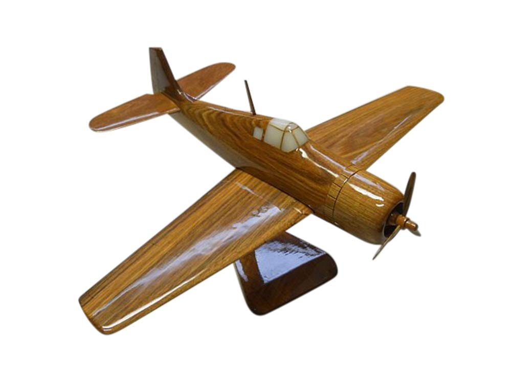 F4 Wildcat Blackbird Mahogany Wood Desktop Airplane Model