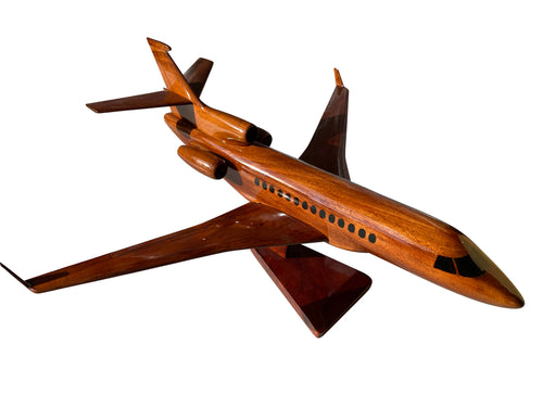 Dassault Falcon 7X Mahogany Wood Desktop Airplane Model
