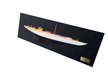 Load image into Gallery viewer, Shamrock Brown/White Painted Half-Hull Model Boat Yacht Handmade