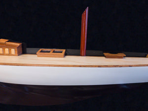 Shamrock Brown/White Painted Half-Hull Model Boat Yacht Handmade
