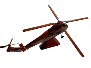 H34 Sikorsky Mahogany Wood Desktop Airplane Model