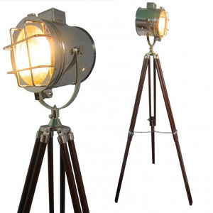 Hollywood Chrome Designer's Floor Searchlight Spot light With Brown Tripod Stand