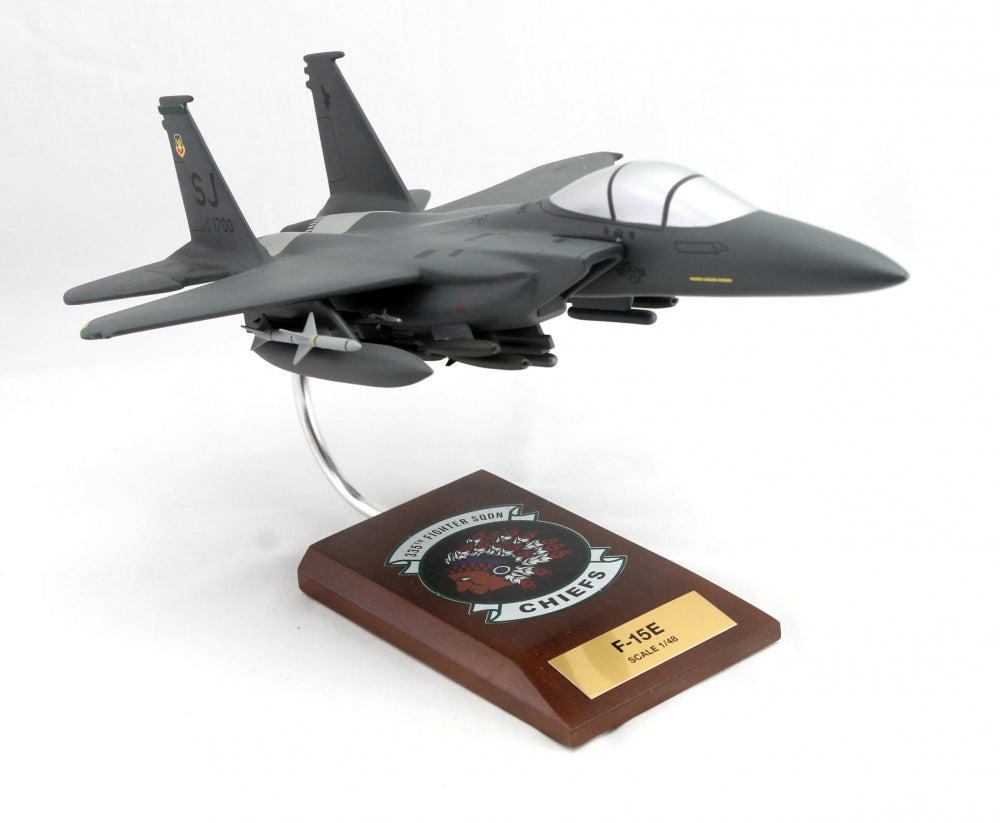 F-15E Strike Eagle 1/48 4th Fighter Wing 335th Mahogany Wood Desktop Airplane Model