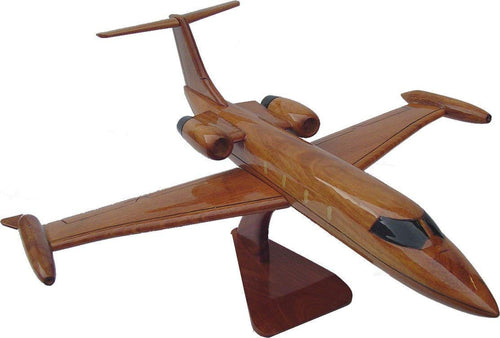 Learjet Mahogany Wood Desktop Airplane Model