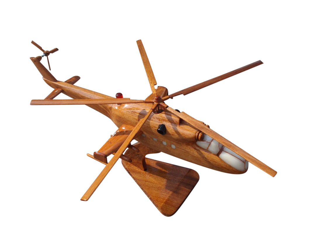 MI24 Hind Mahogany Wood Desktop Helicopter Model