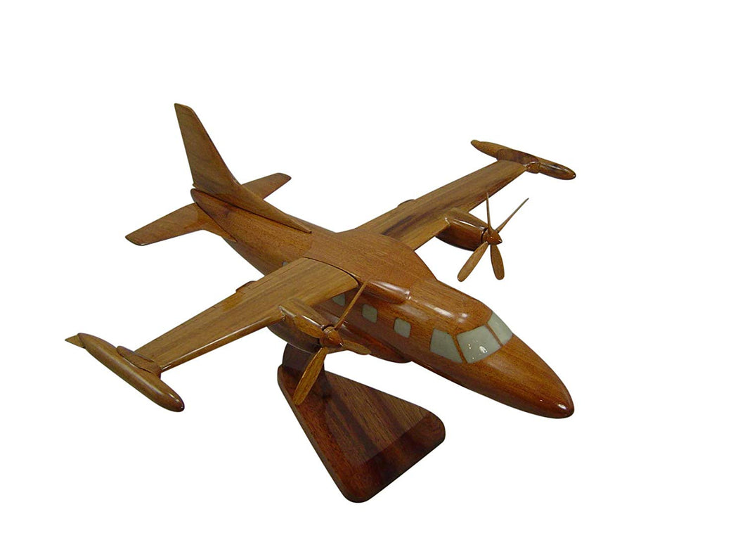 MU2B60 Mahogany Wood Desktop Airplane Model