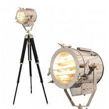 Load image into Gallery viewer, Marine Nautical Floor Light With Black Tripod Stand Antique Spotlight