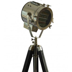 Marine Nautical Floor Light With Black Tripod Stand Antique Spotlight
