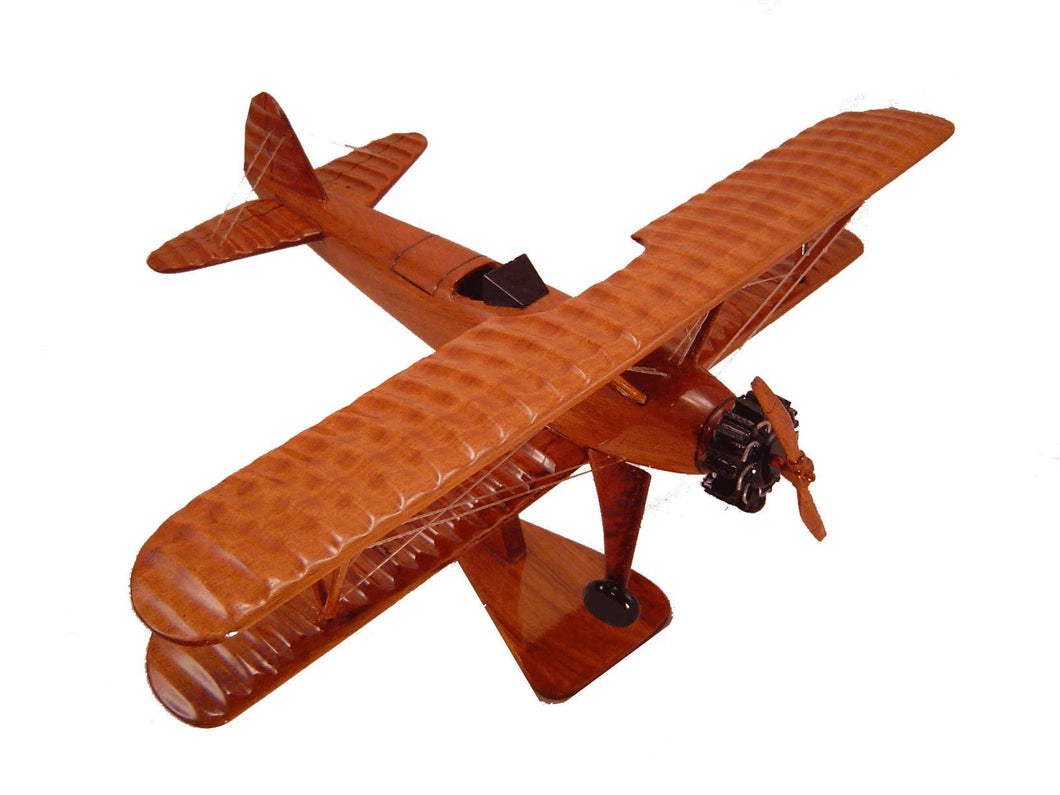 PT17 Stearman Mahogany Wood Desktop Airplane Model