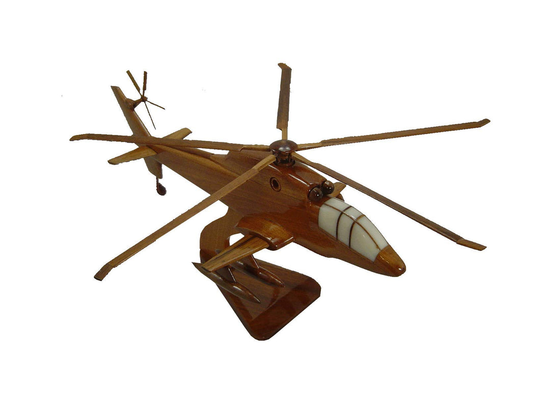 S67 Blackhawk Mahogany Wood Desktop Helicopter Model