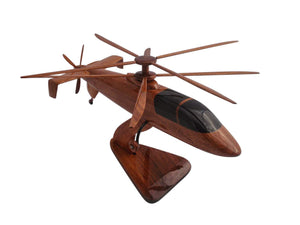 S97 Sikorsky Raider Mahogany Wood Desktop Helicopter Model