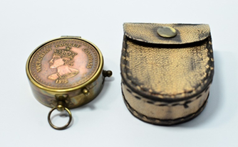Victorian Pocket compass with leather cover