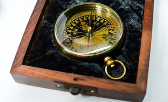 Map  compass yellow dial with box