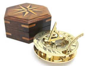 Star Sundial Compass With Wooden Box