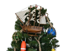 Load image into Gallery viewer, Wooden Charles Darwin's HMS Beagle Model Ship Christmas Tree Topper Decoration