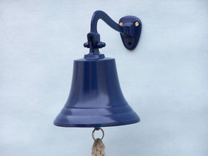 "Solid Brass Hanging Ships Bell 11"" - Blue"