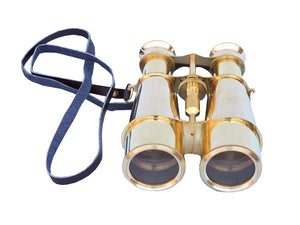 Captain's Solid Brass Binoculars with Leather Case 6""