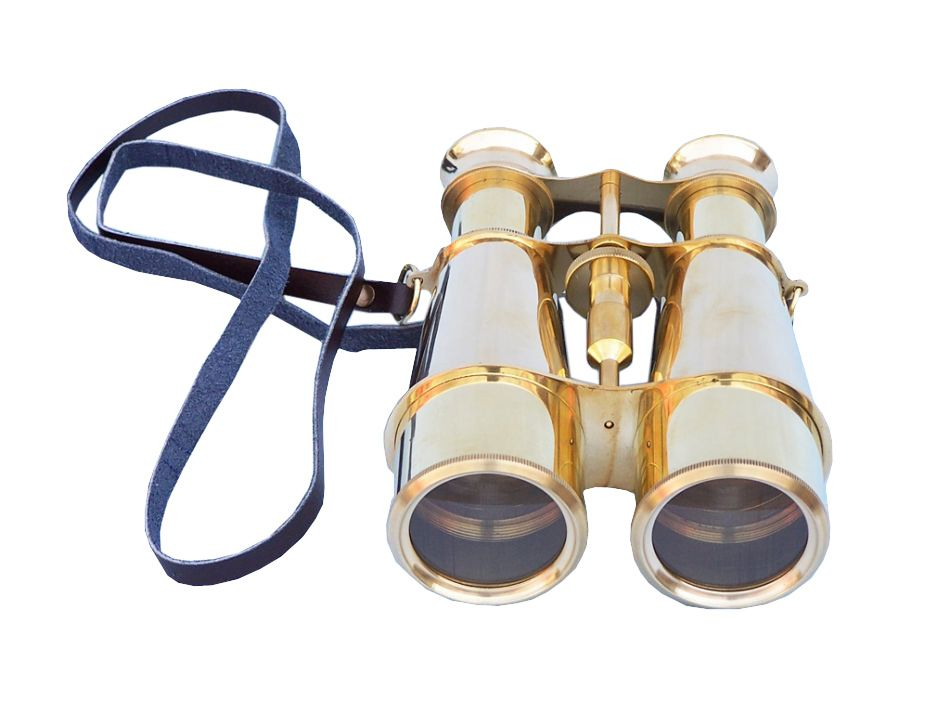 Captain's Solid Brass Binoculars with Leather Case 6