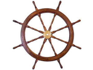 Deluxe Class Wood and Brass Decorative Ship Wheel 48