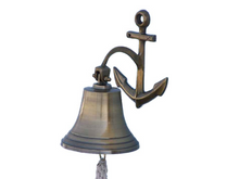Load image into Gallery viewer, Antique Brass Hanging Anchor Bell 10""