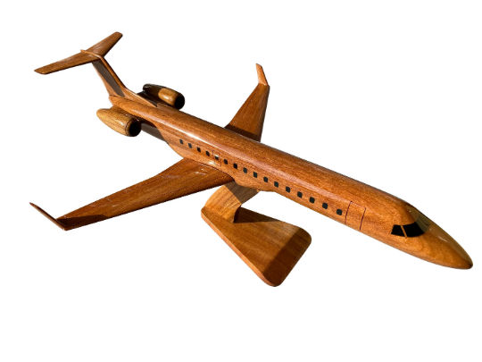 Embraer 145 Mahogany Wood Desktop Airplane Model