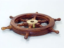 Load image into Gallery viewer, Deluxe Class Wood and Brass Decorative Ship Wheel 15
