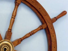Load image into Gallery viewer, Deluxe Class Wood and Brass Decorative Ship Wheel 48