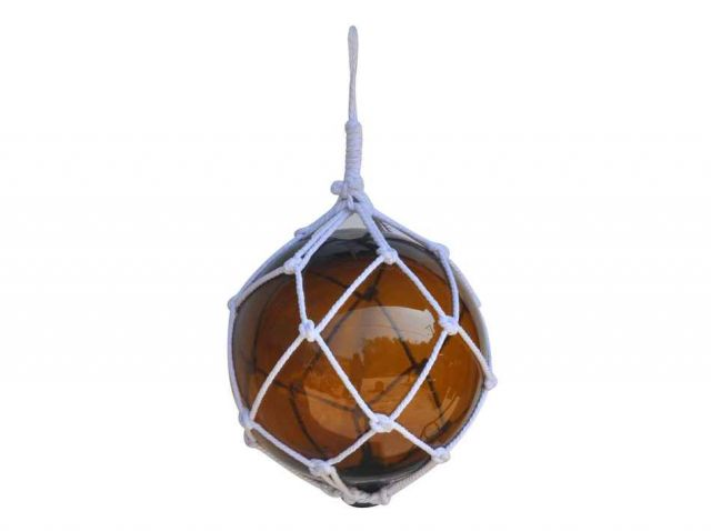 Amber Japanese Glass Ball Fishing Float With White Netting Decoration 12