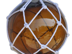 Amber Japanese Glass Ball Fishing Float With White Netting Decoration 12""""