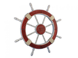 Wooden Rustic Red and White Decorative Ship Wheel 30""""
