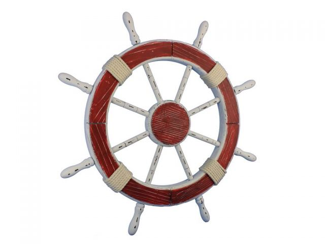 Wooden Rustic Red and White Decorative Ship Wheel 30