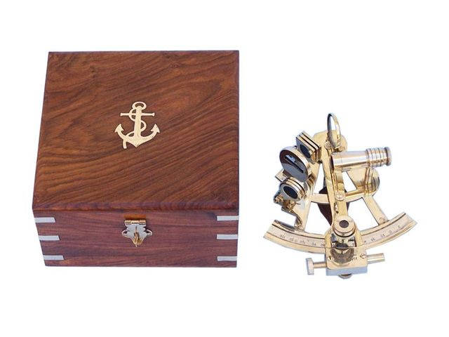 Captain's Brass Sextant with Rosewood Box 8