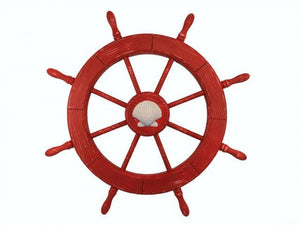 Wooden Rustic Red Decorative Ship Wheel With Seashell 30""""