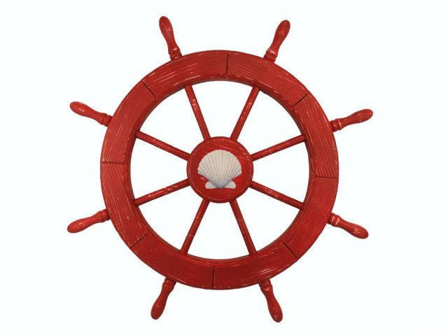 Wooden Rustic Red Decorative Ship Wheel With Seashell 30