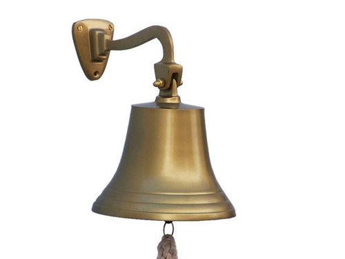 Antique Brass Hanging Ship's Bell 9