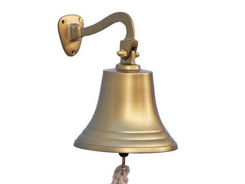 Antique Brass Hanging Ship's Bell 11