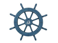 Load image into Gallery viewer, Rustic All Light Blue Decorative Ship Wheel With Sailboat 18""""