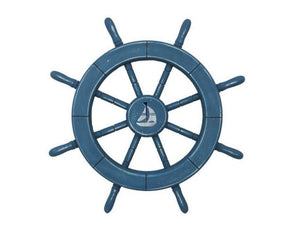 Rustic All Light Blue Decorative Ship Wheel With Sailboat 18""""