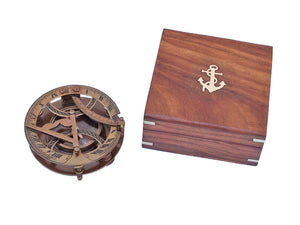 Antique Brass Round Sundial Compass with Rosewood Box 6""