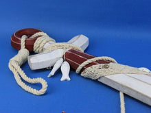 Load image into Gallery viewer, Wooden Rustic Red/White Decorative Anchor w/ Hook Rope and Shells 24""""