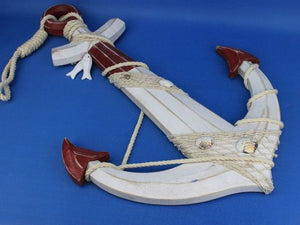Wooden Rustic Red/White Decorative Anchor w/ Hook Rope and Shells 24""""