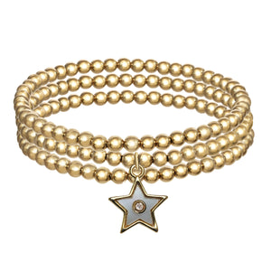 Set of 3 14Gold Filled Bracelets with Enamel Star Pendant